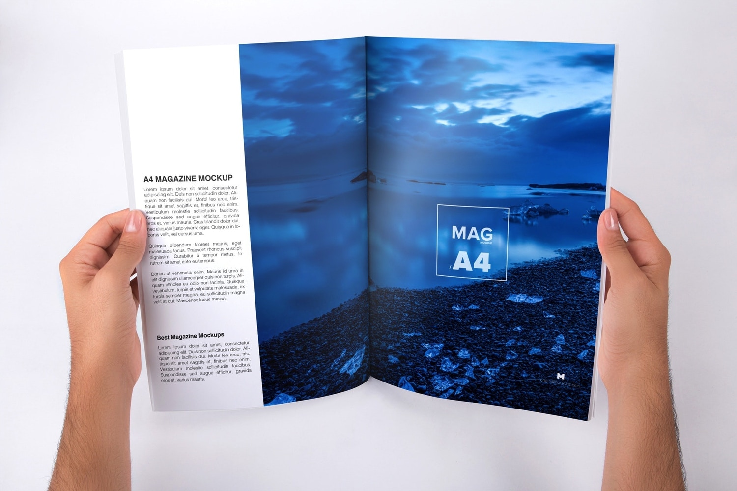 Holding A4 Magazine Opened Mockup by Original Mockups on Original Mockups