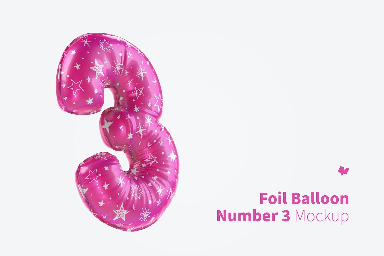 Number 3 Foil Balloon Mockup