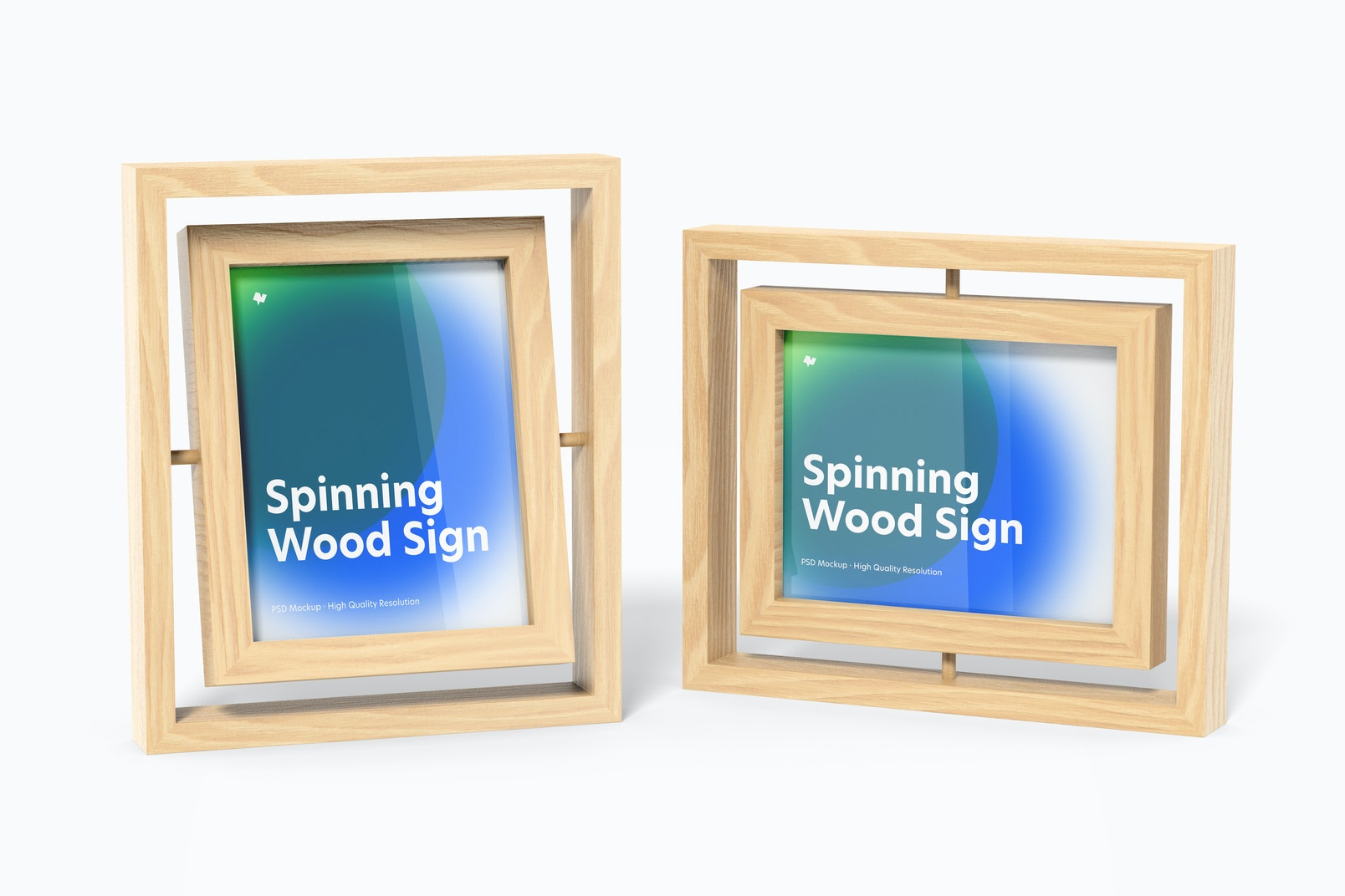 Spinning Wood Frame Signs Mockup, Front View