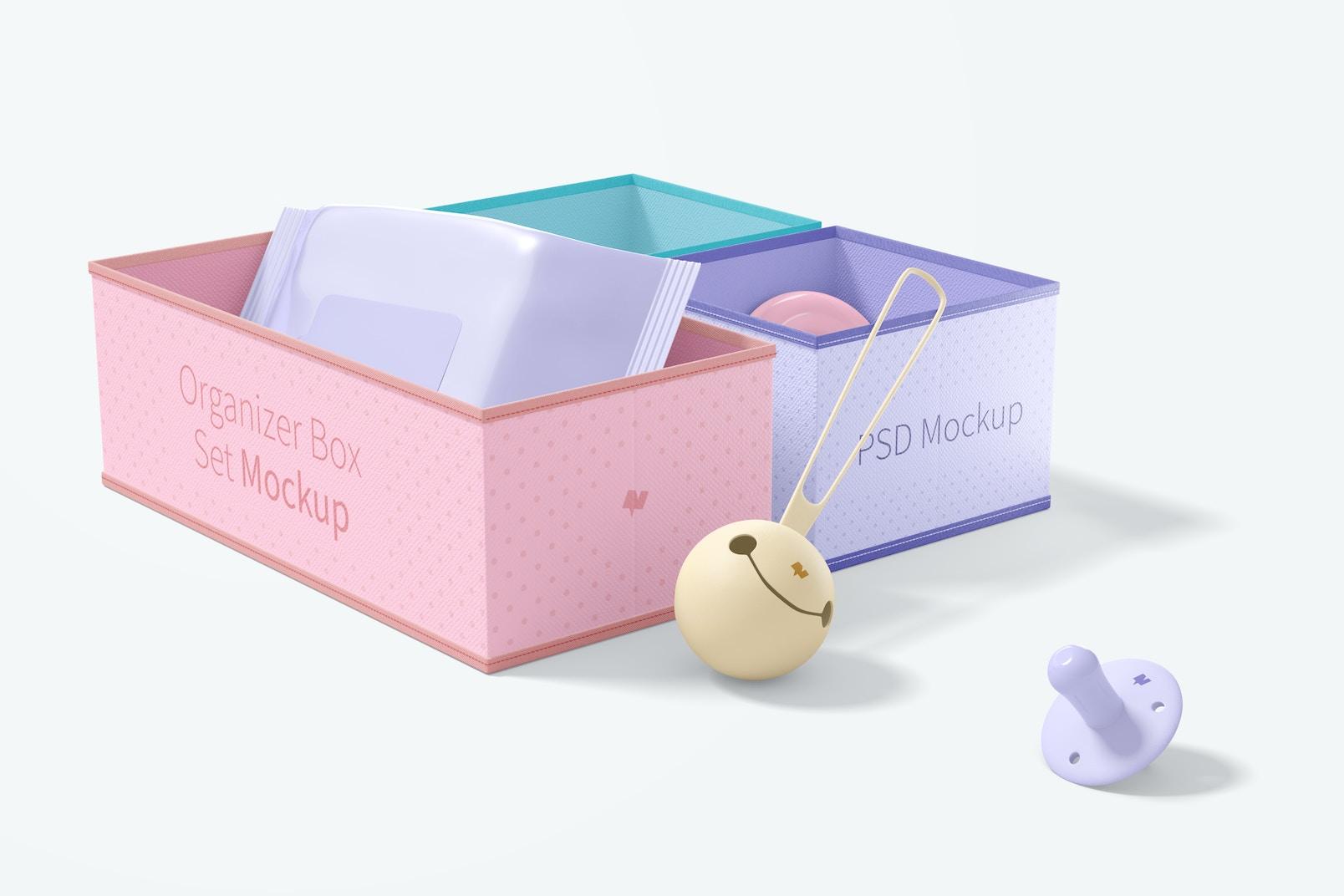 Fabric Organizer Box Set Mockup, Perspective