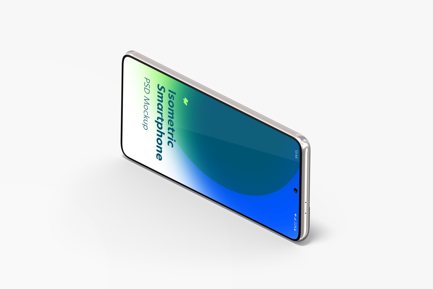 Isometric Samsung S21 Mockup, Landscape Right View