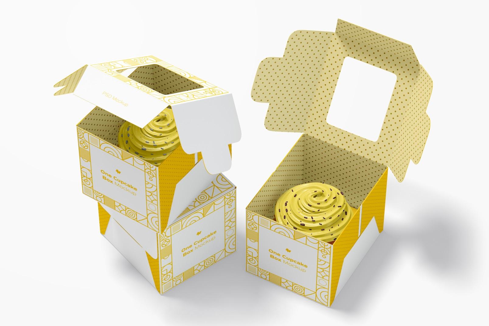 One Cupcake Boxes Mockup, Opened