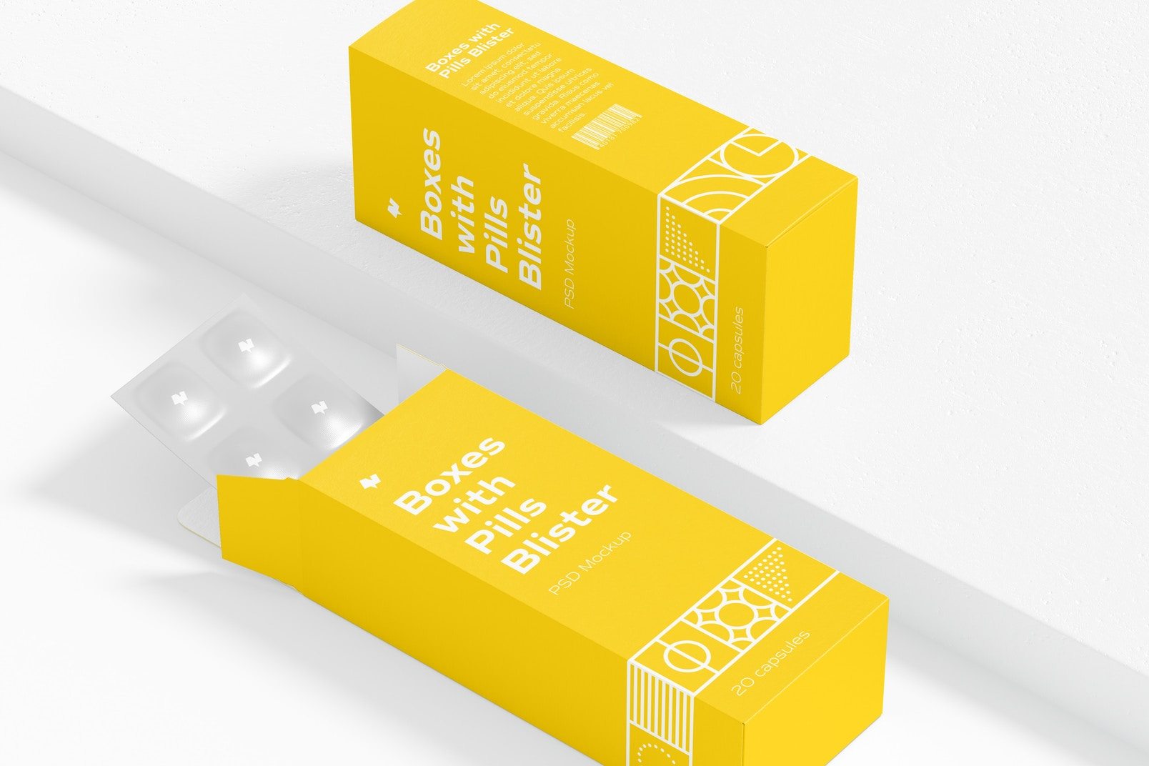 Boxes with Pills Blister Mockup, Opened and Closed