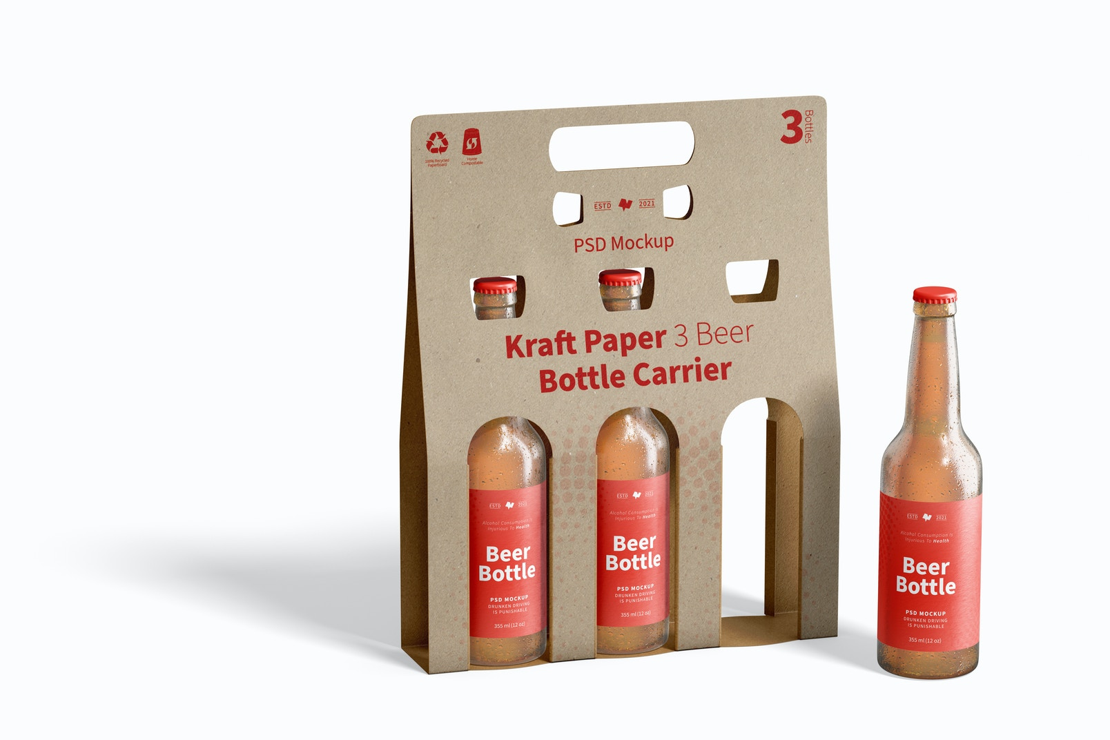 Kraft Paper 3 Beer Bottle Carrier Mockup
