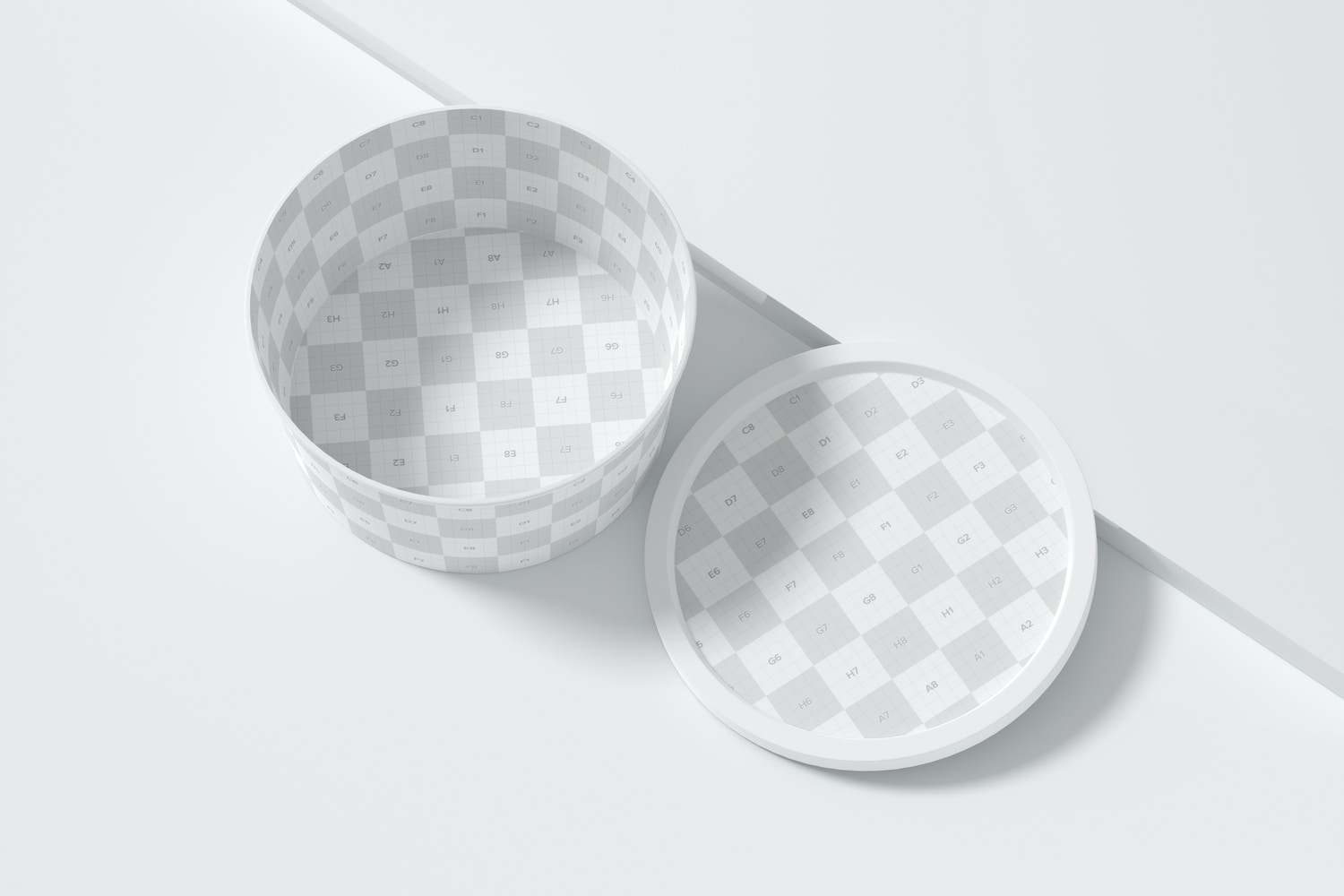 Round Plastic Food Delivery Container Mockup, Top View