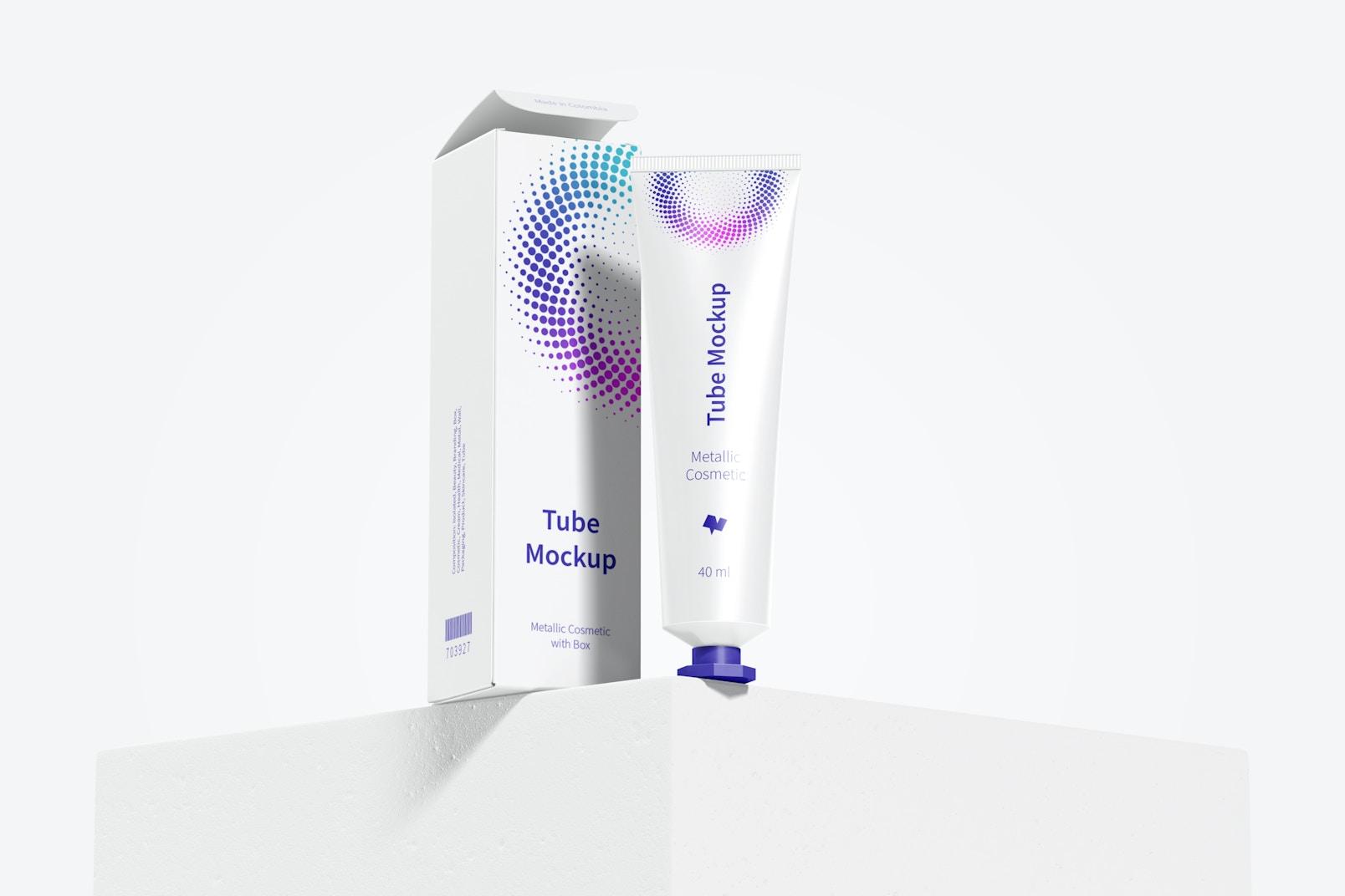 40 ml Metallic Cosmetic Tube with Box Mockup 02