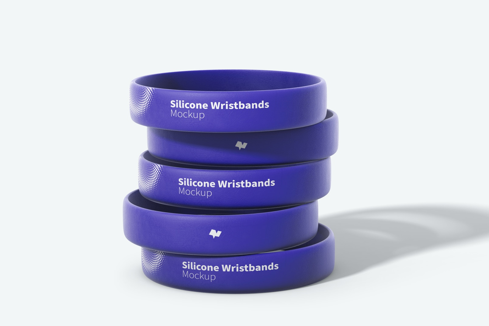 Silicone Wristbands Set Mockup, Front View, Stacked