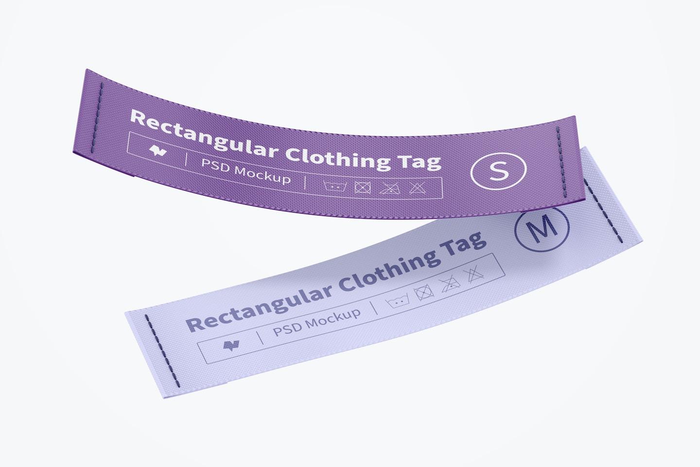 Rectangular Clothing Tags Mockup, Floating