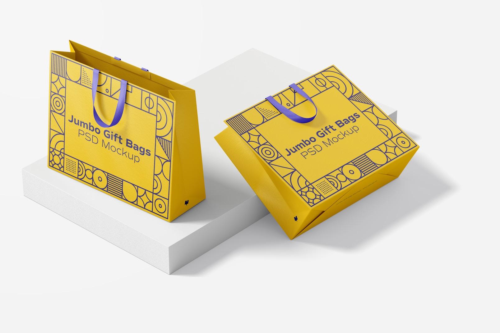 Jumbo Gift Bags with Ribbon Handle Mockup