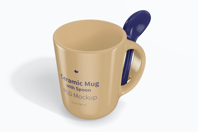12 oz Ceramic Mug with Spoon Mockup, Isometric Left View