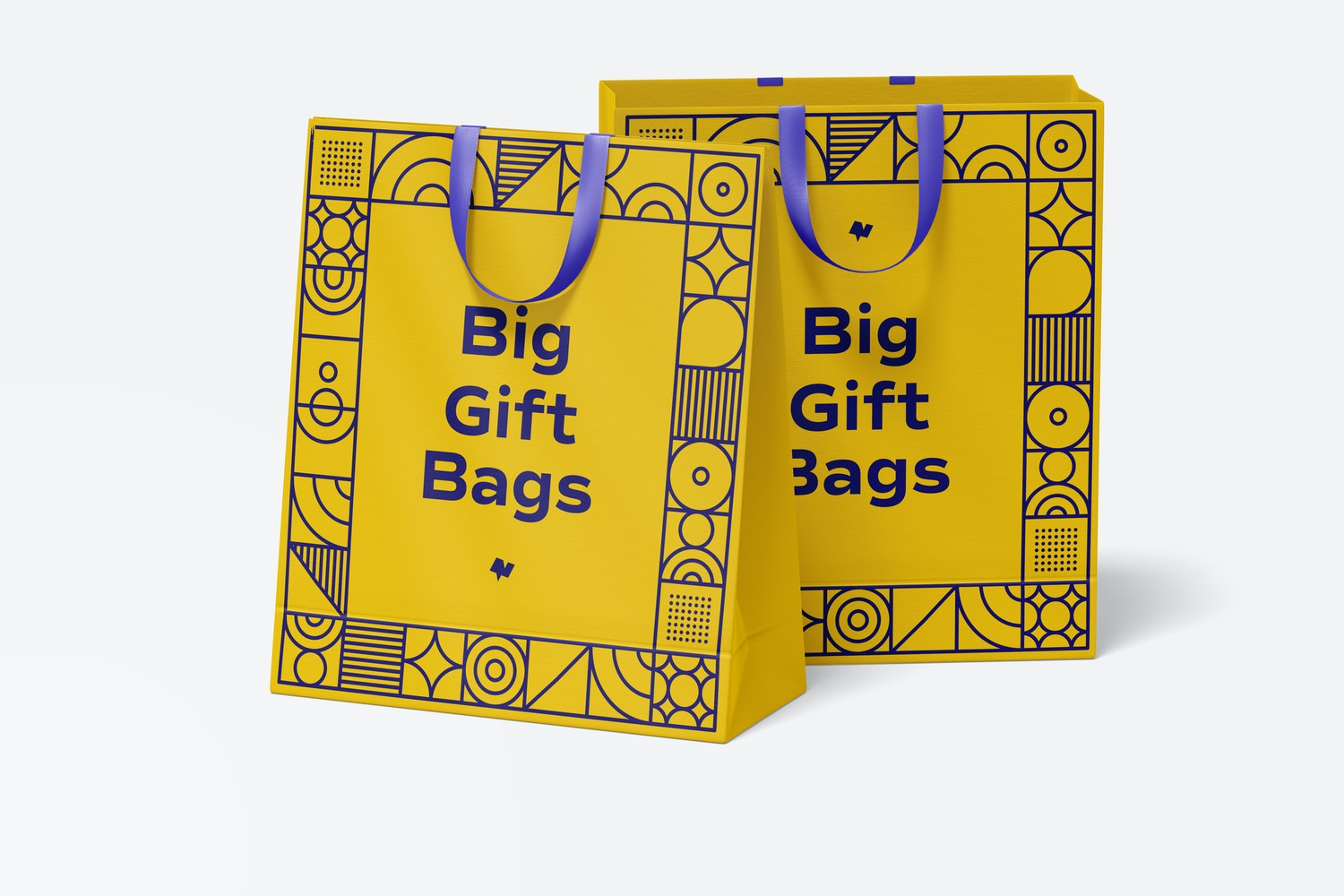 Big Gift Bags with Ribbon Handle Mockup, Front View
