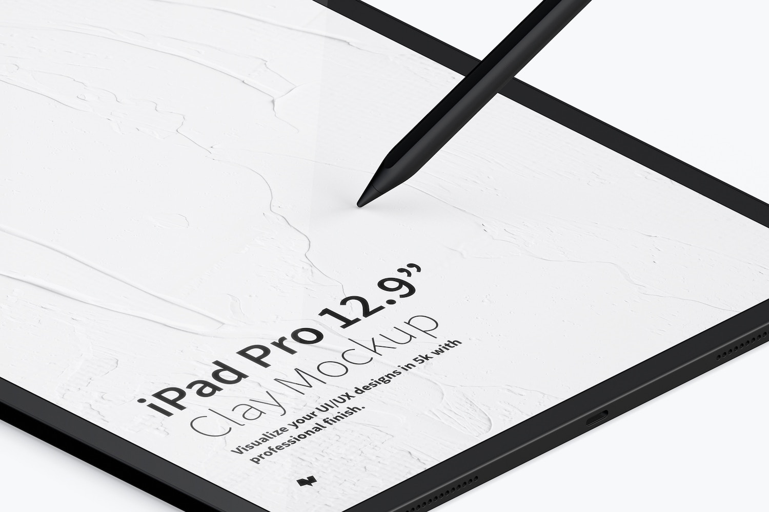 "Clay iPad Pro 12.9"" Mockup, Isometric Left View (3) by Original Mockups on Original Mockups"