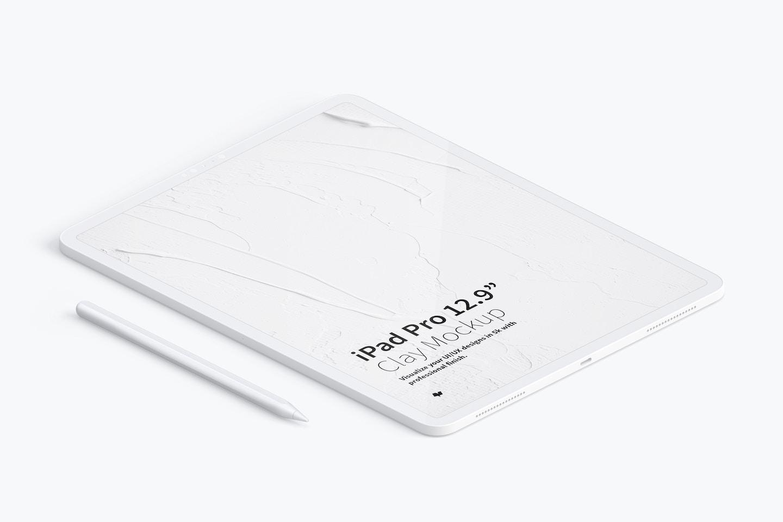 """Maqueta de iPad Pro 12.9"""" Multicolor, Vista Izquierda Isométrica"""
