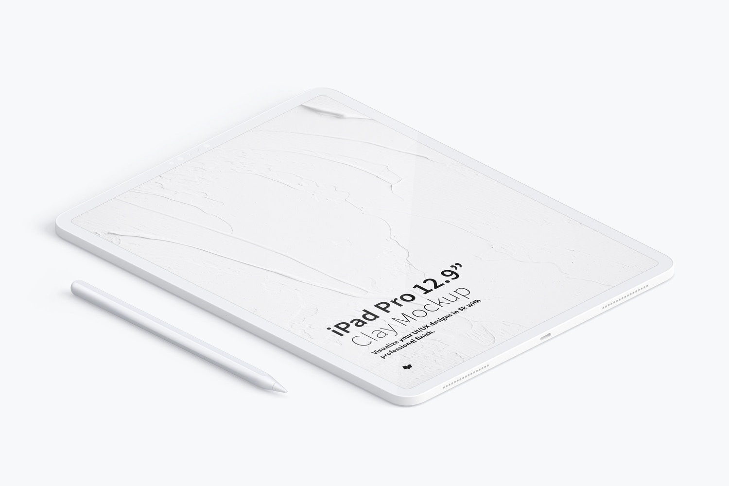 "Clay iPad Pro 12.9"" Mockup, Isometric Left View by Original Mockups on Original Mockups"