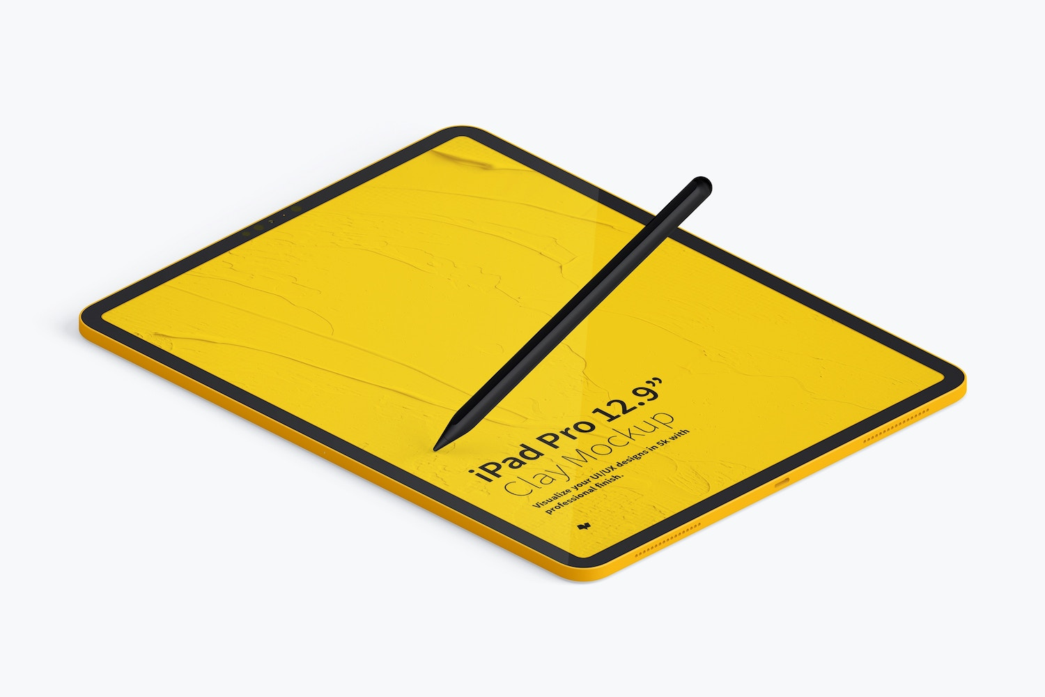 "Clay iPad Pro 12.9"" Mockup, Isometric Left View (4) by Original Mockups on Original Mockups"