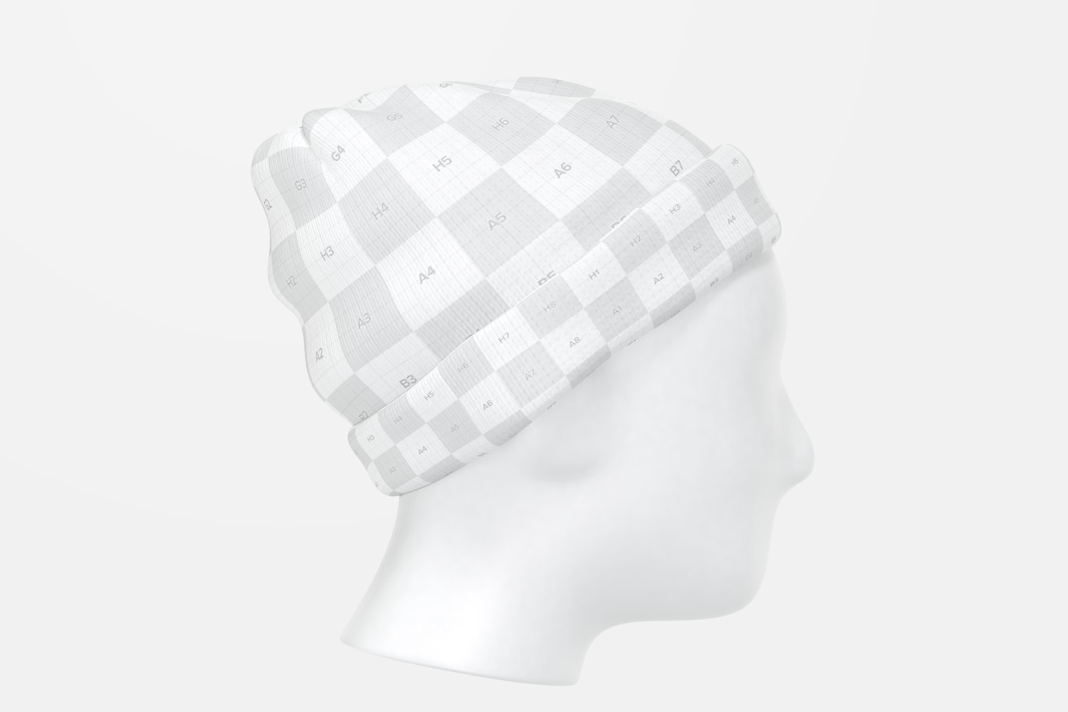 Beanie with Head Mockup, Left View