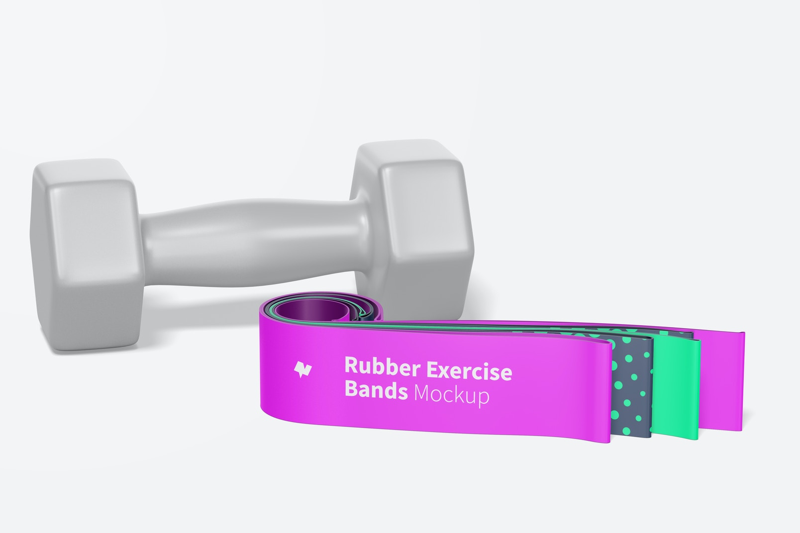 Rubber Exercise Bands Mockup, Front View