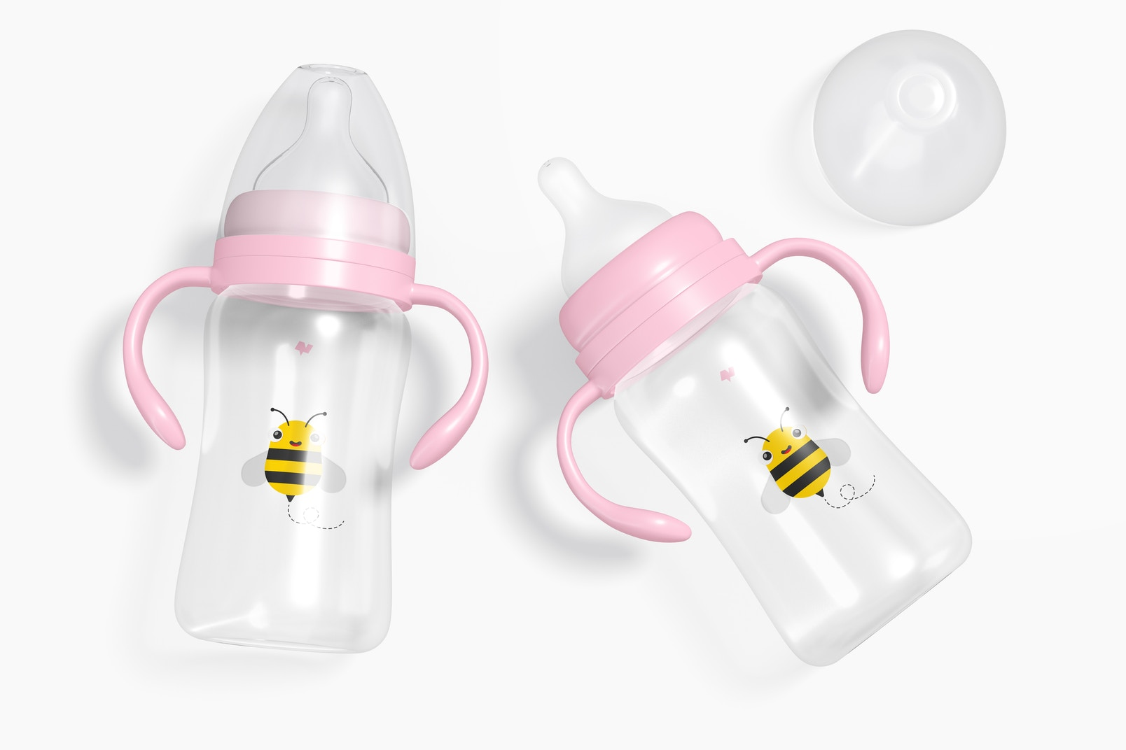 300ml Baby Milk Bottles Blister Mockup, Top View