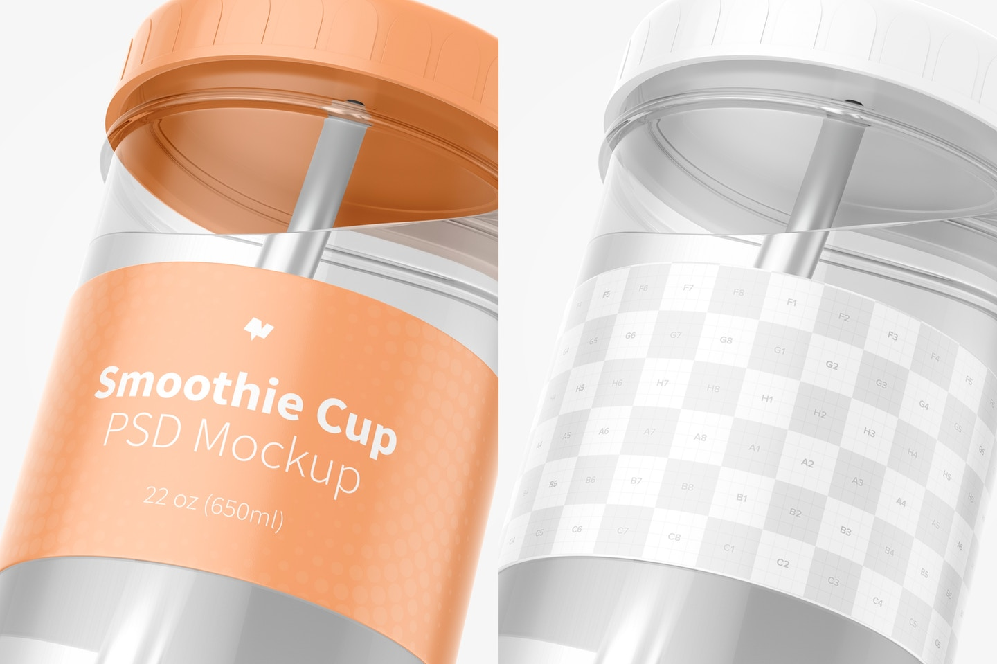 Smoothie Cup with Lid Mockup, Close Up