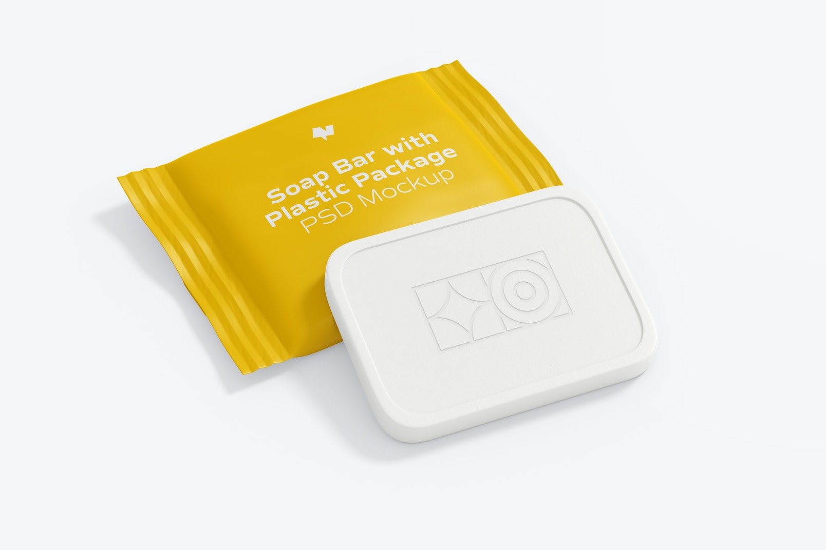 Soap Bar with Plastic Package Mockup