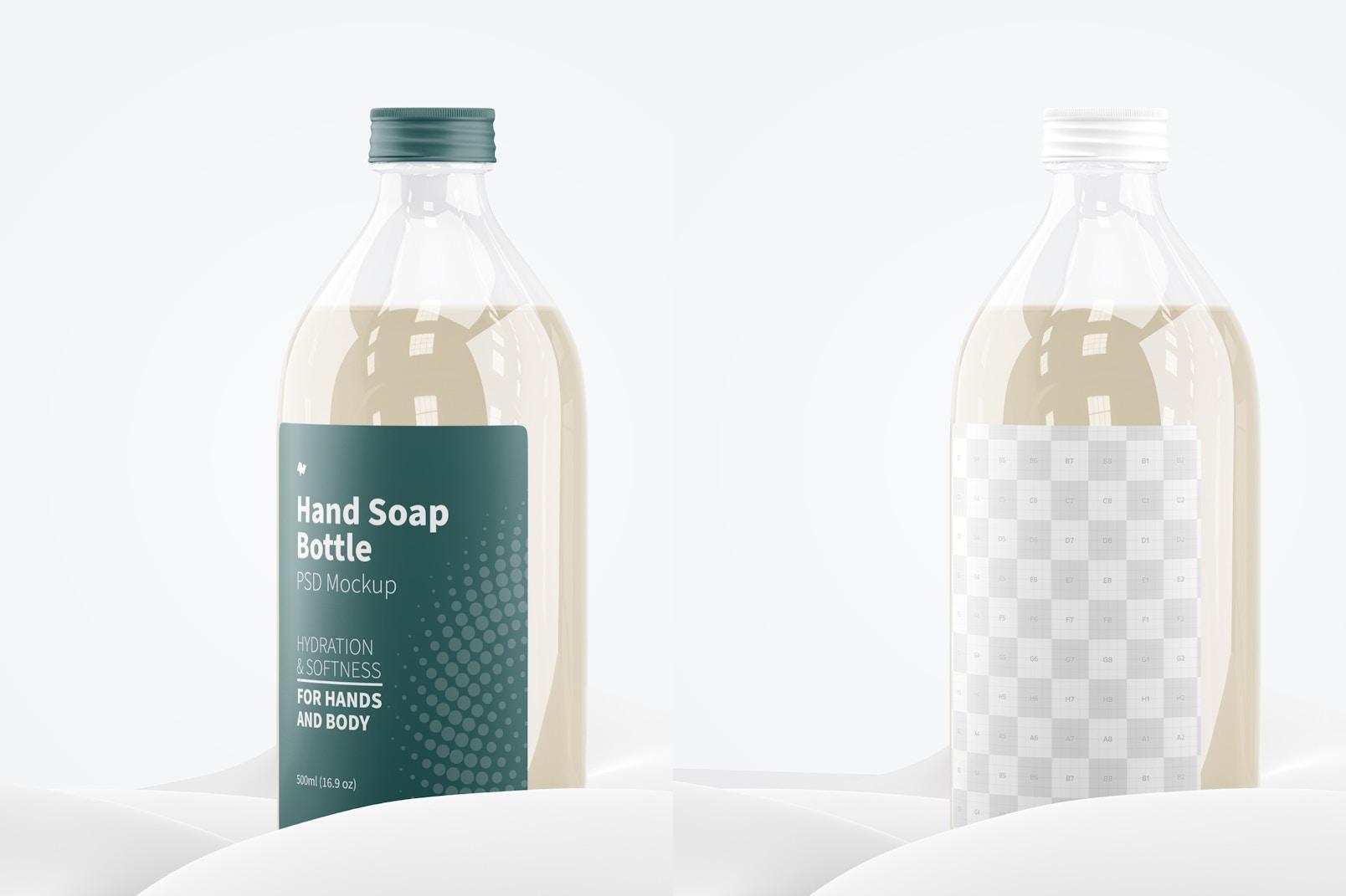 Hand Soap Clear Bottle Mockup