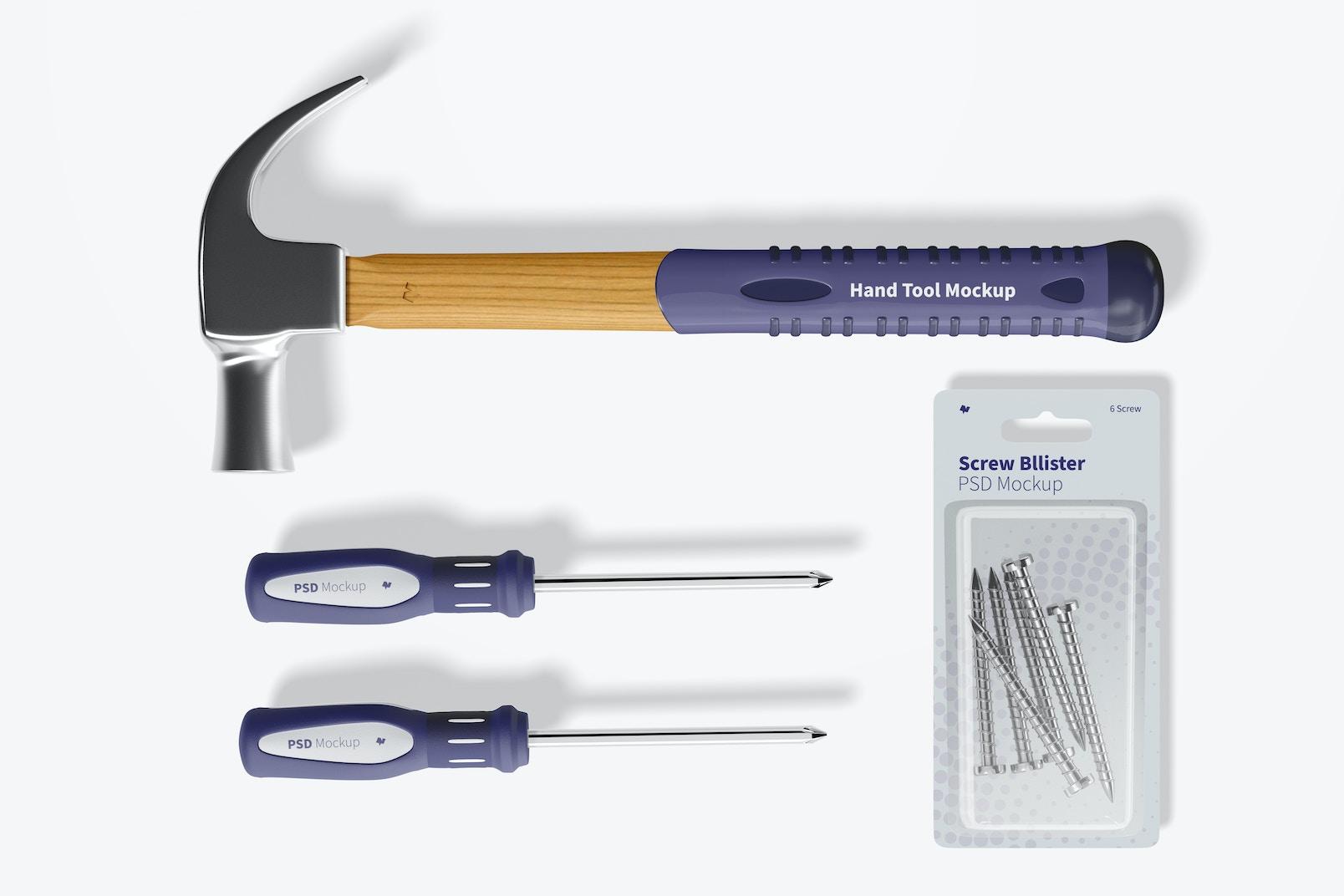 Hand Tool Set Mockup, Top View 02