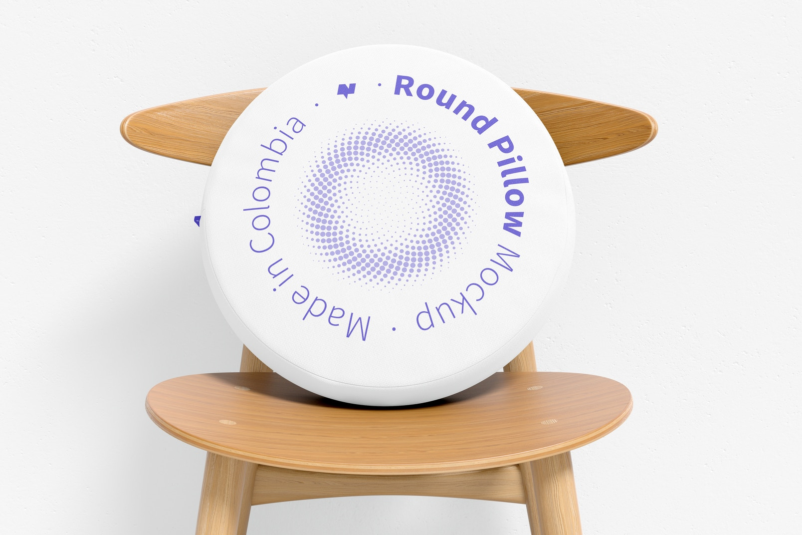 Round Pillow with Chair Mockup