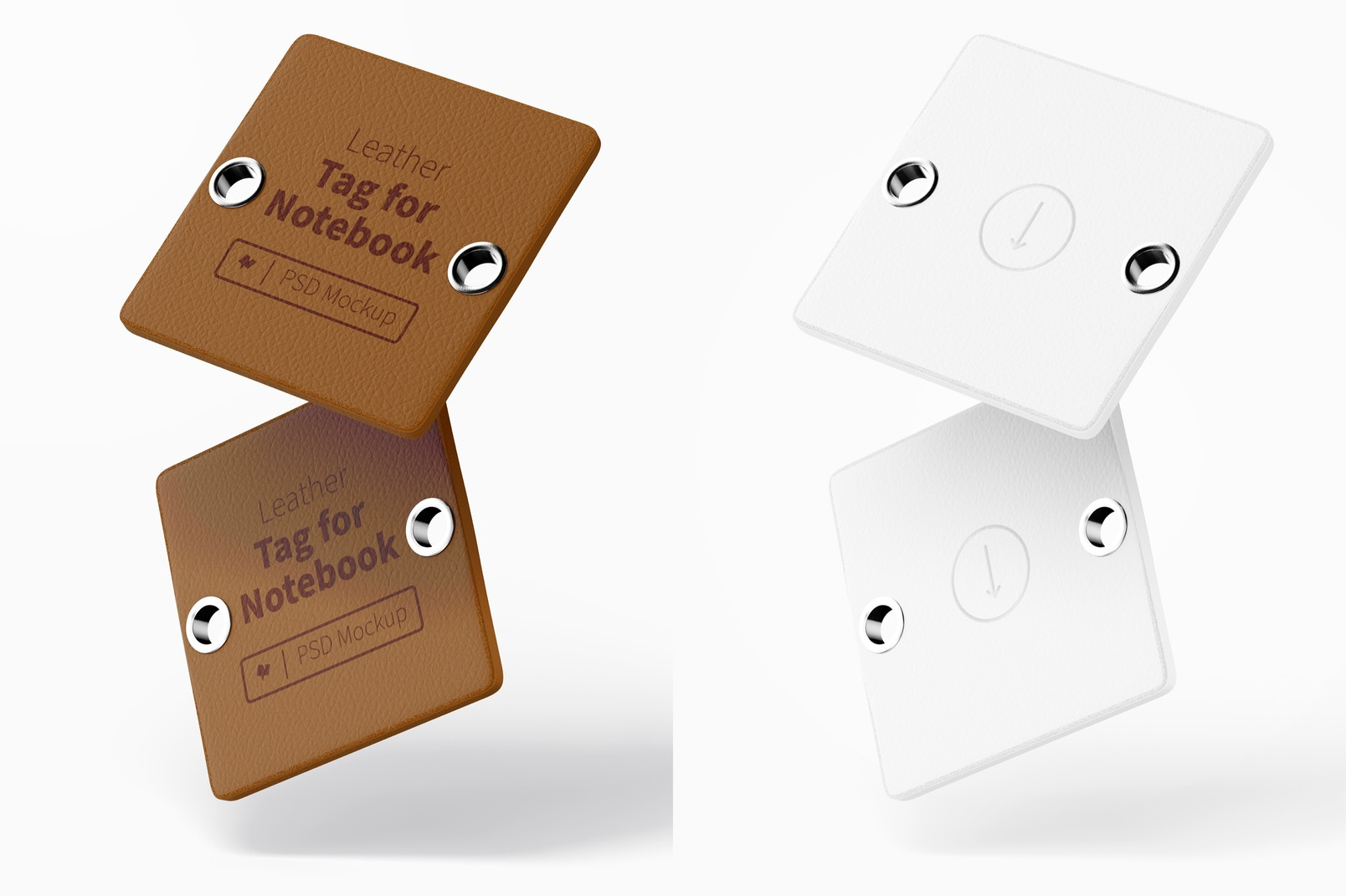 Leather Tag For Notebook Mockup, Floating