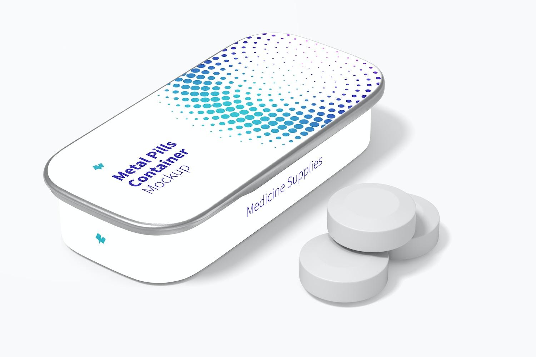 Metal Slide Top Tin Pills Container Mockup