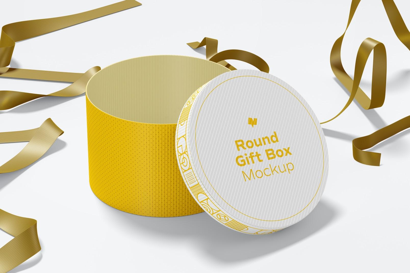 Round Gift Box with Ribbon Mockup, Opened