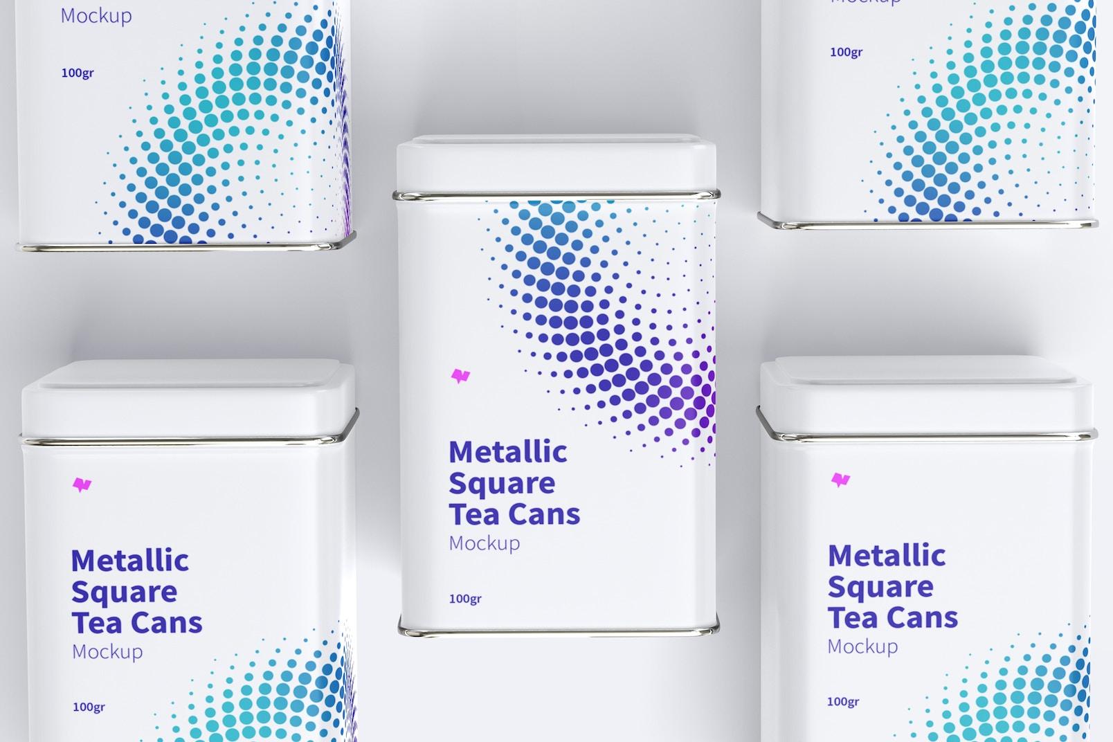 Metallic Square Tea Tin Cans Set Mockup, Top View