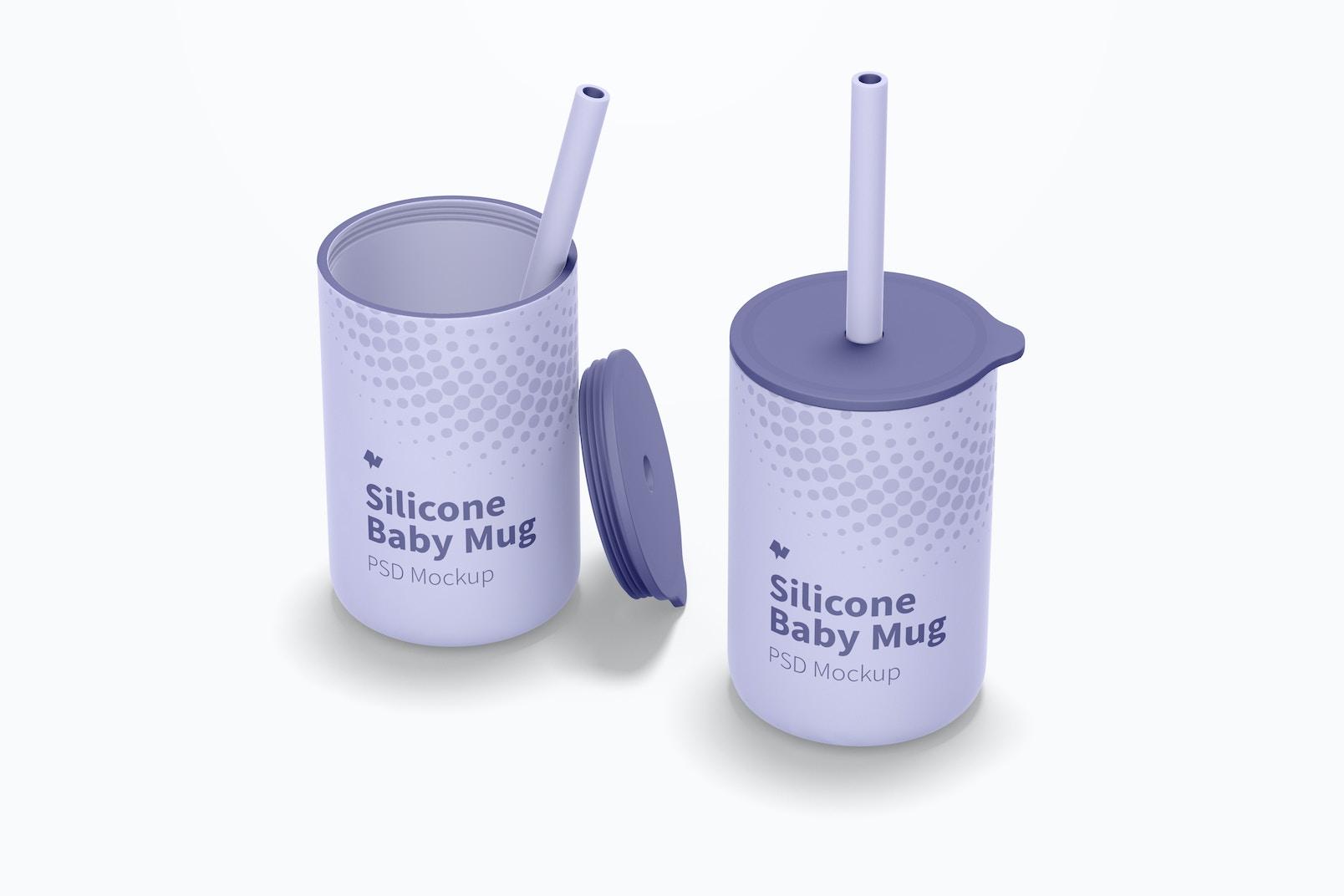 Silicone Baby Mugs with Lid Mockup