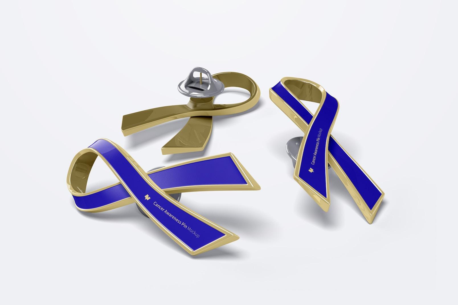 Cancer Awareness Pin Set Mockup