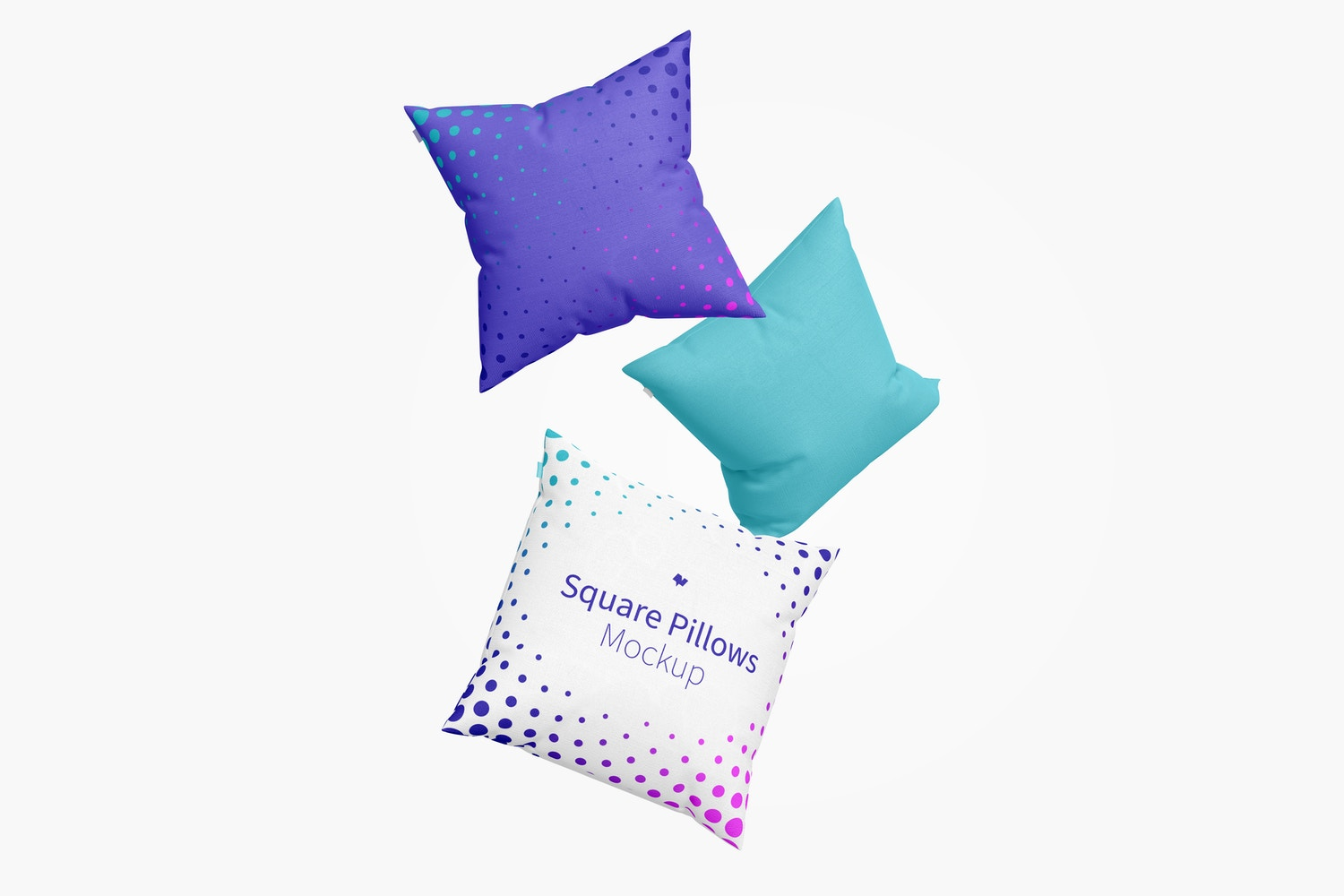 Square Pillows Mockup, Floating