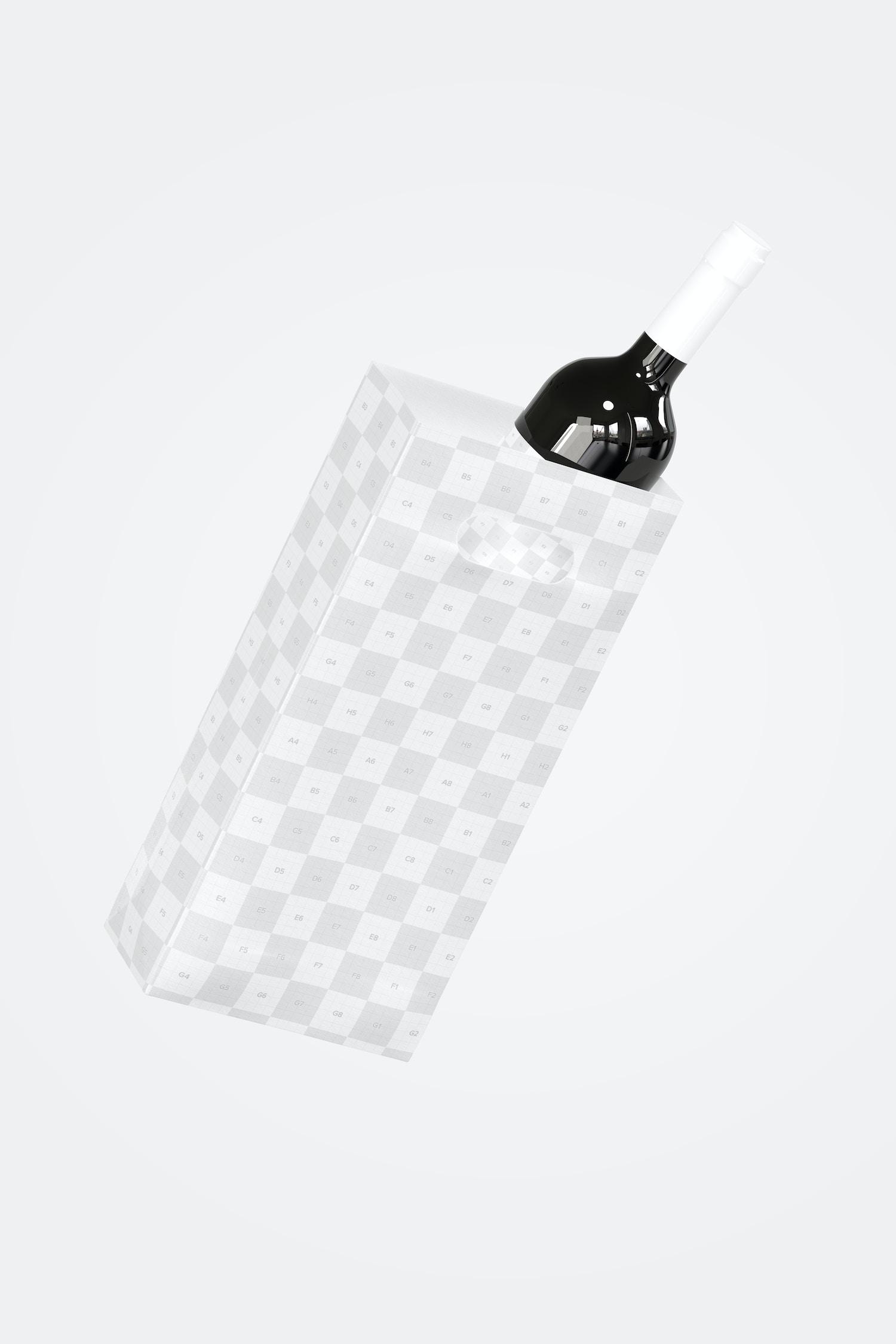 Die-Cut Tall Paper Bag Mockup, Falling