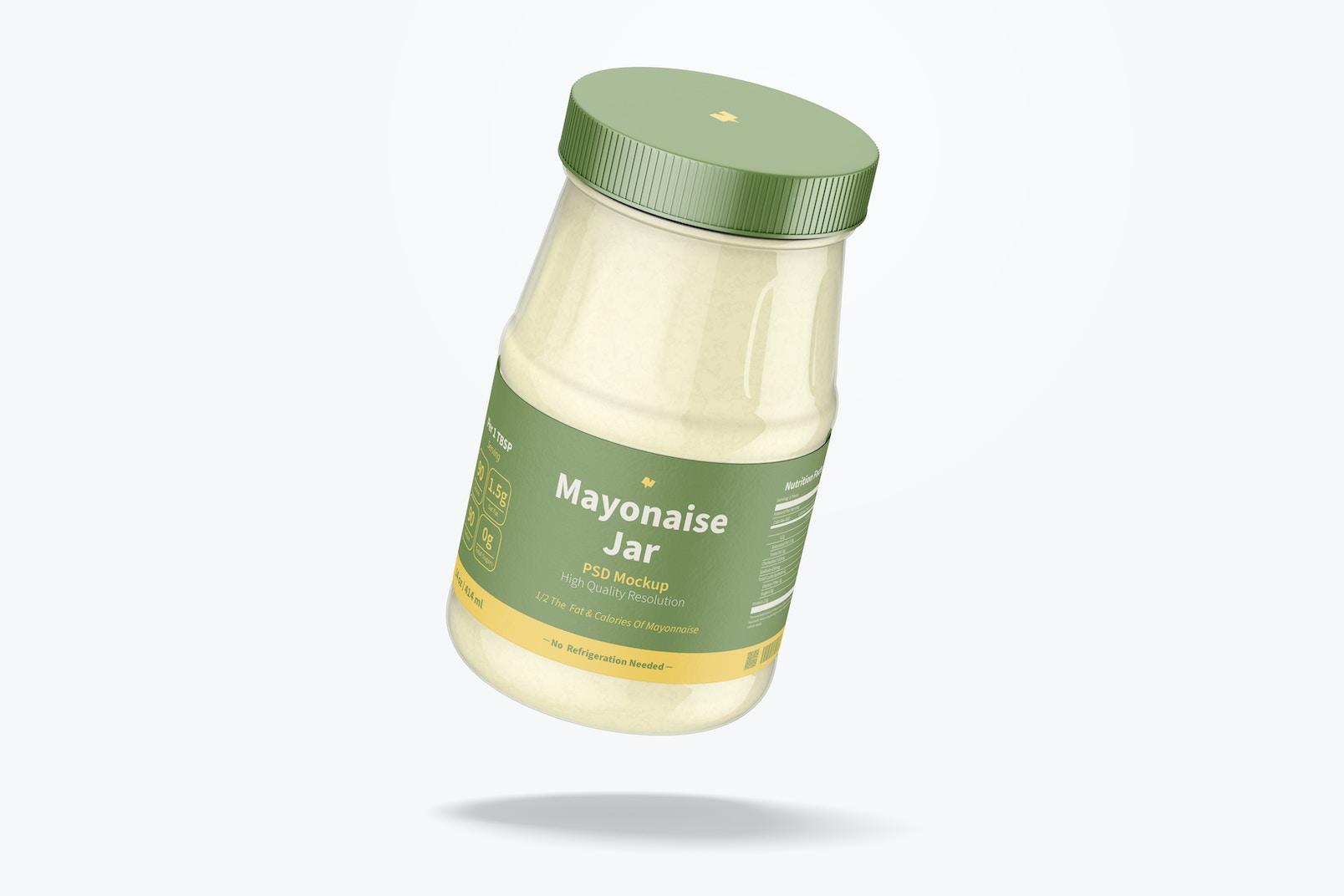 14 oz Mayonnaise Jar Mockup, Floating