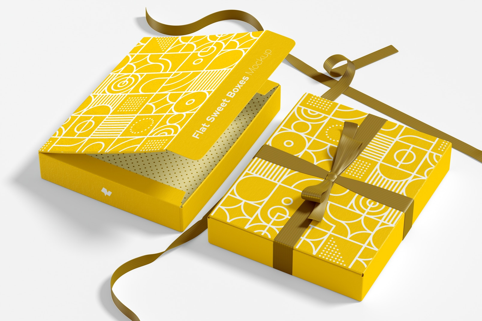 Flat Sweet Boxes with Ribbon Mockup, Perspective
