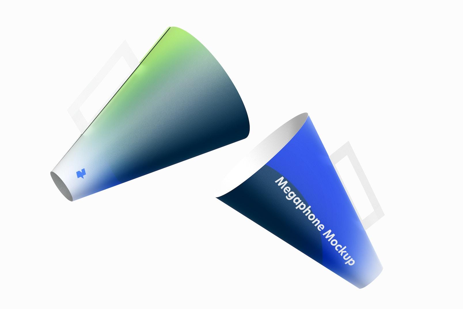 Paper Megaphones Mockup, Floating