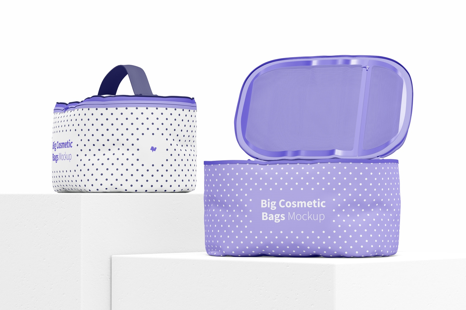 Big Cosmetic Bags Mockup, Perspective