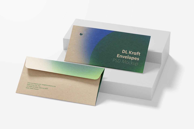 DL Kraft Envelopes Mockup, Perspective