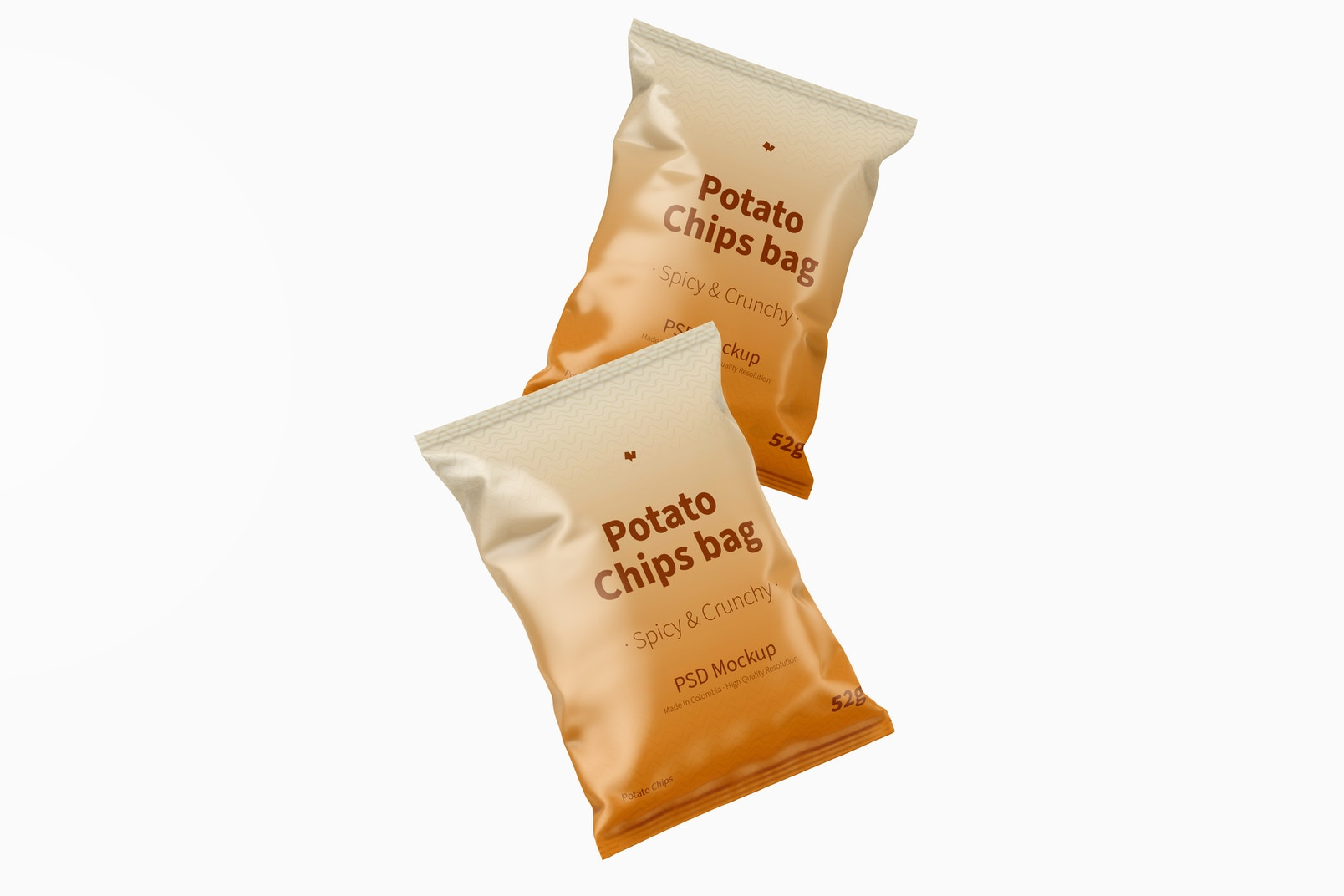 Potato Chips Bags Mockup, Front View