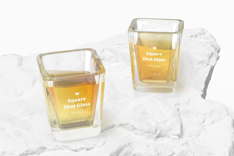 Square Shot Glasses Mockup