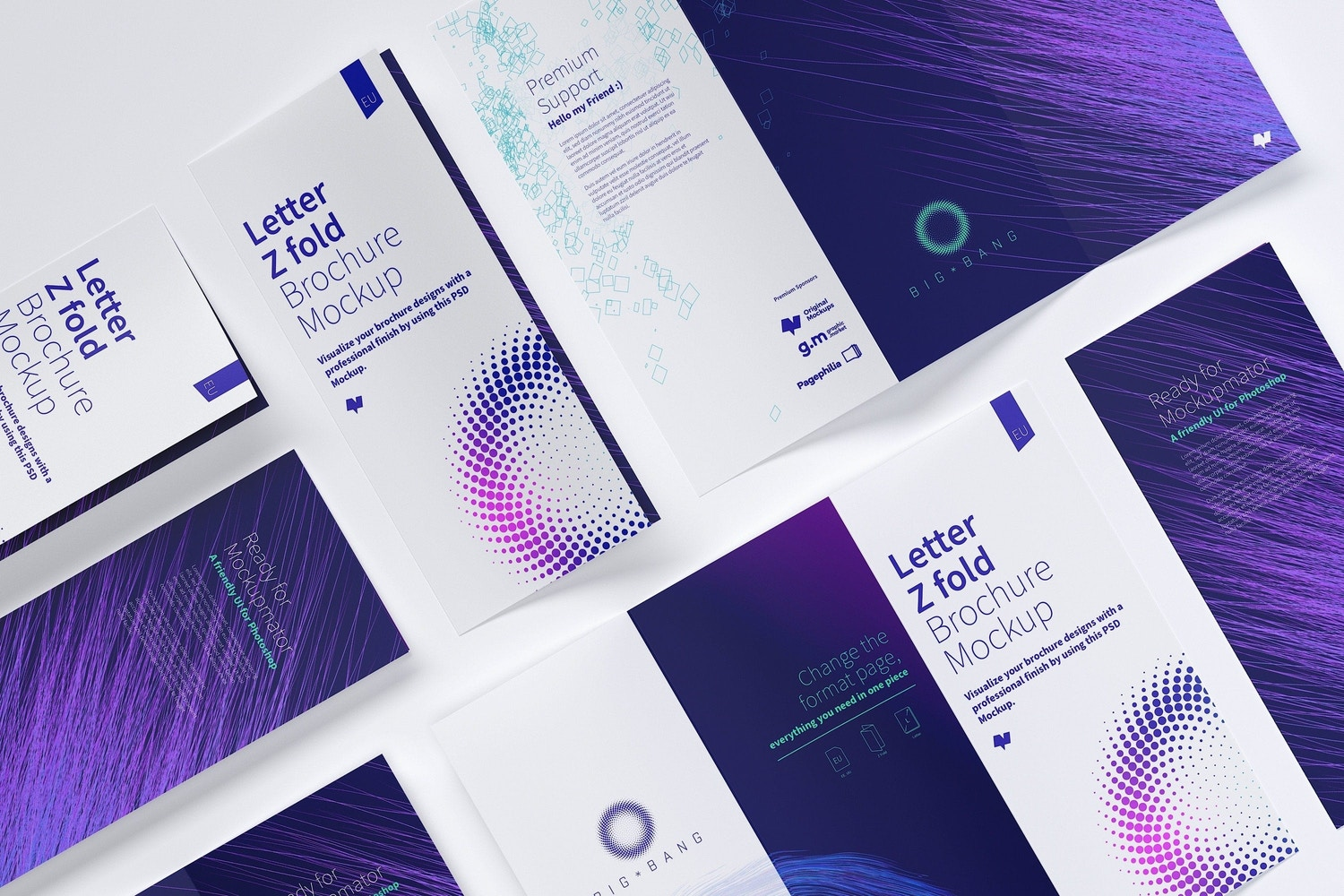 Composition with different views of a Z Fold Brochure.