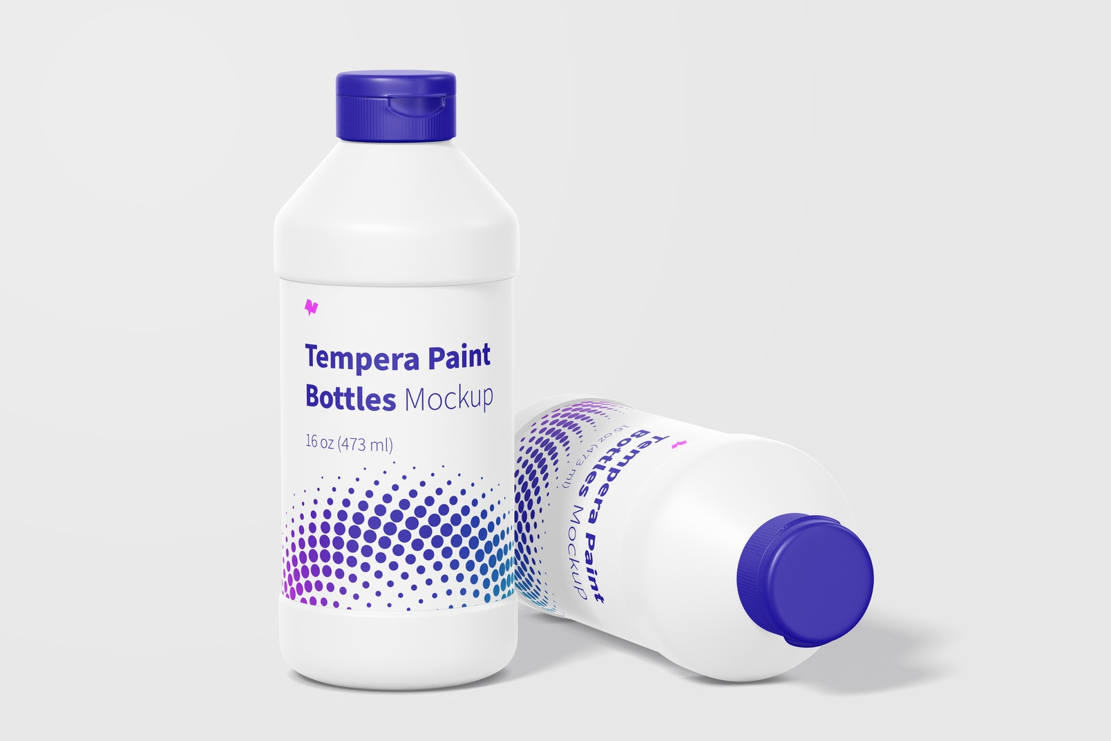 16 oz Tempera Paint Bottles Mockup