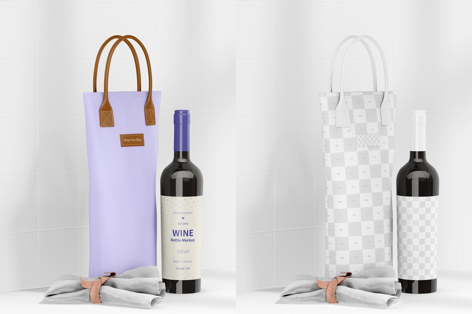 Wine Tote Bag Mockup