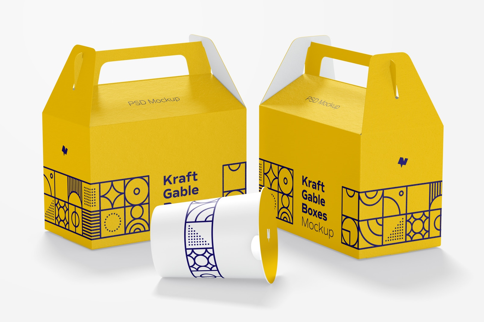 Kraft Gable Boxes Mockup, Left and Right View