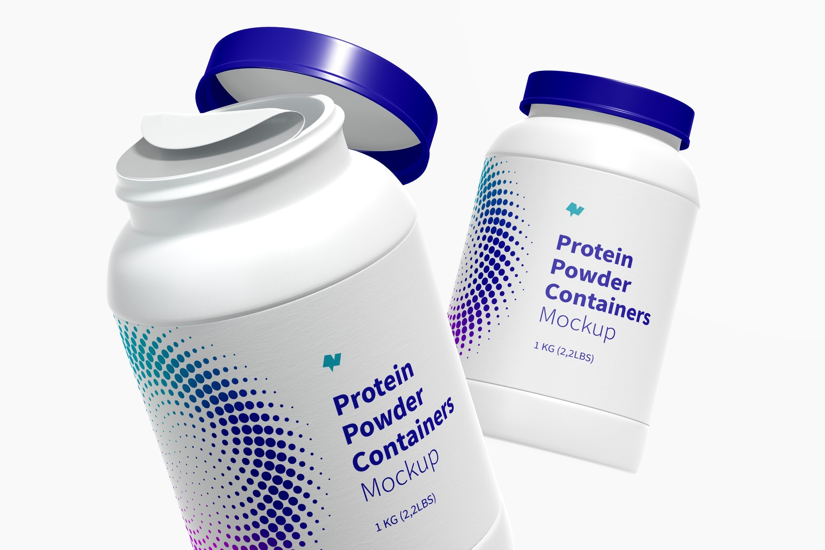 Protein Powder Container Mockup, Floating