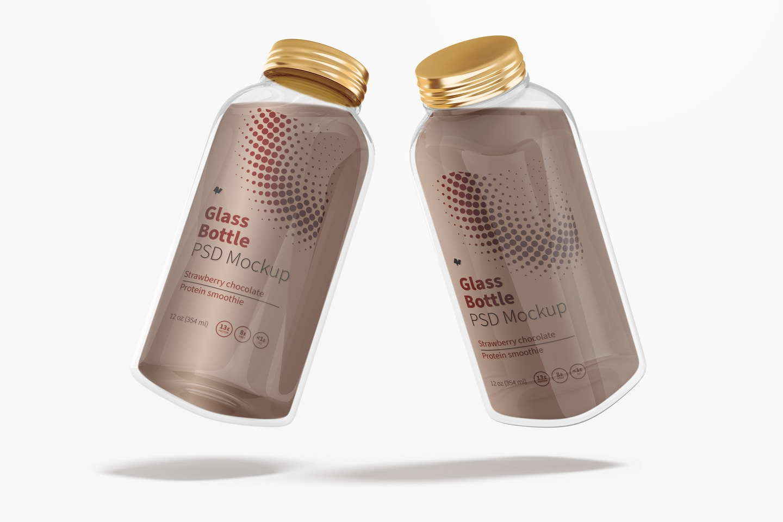 12 oz Glass Bottle Mockup, Perspective