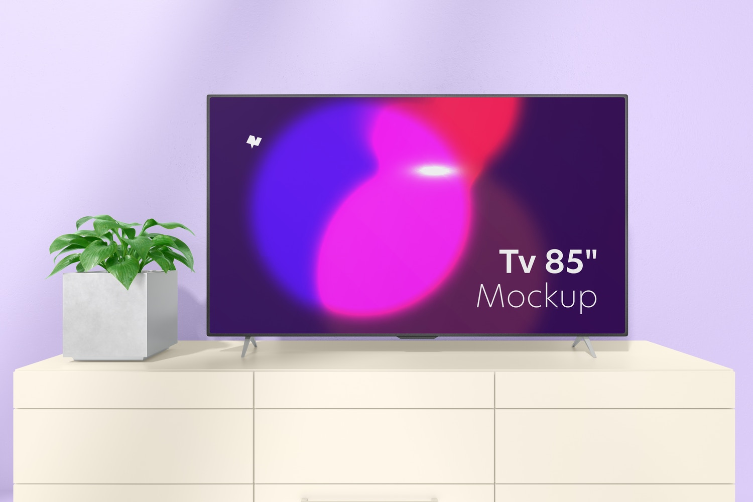 """Tv 85"""" on Table Mockup, Front View"""