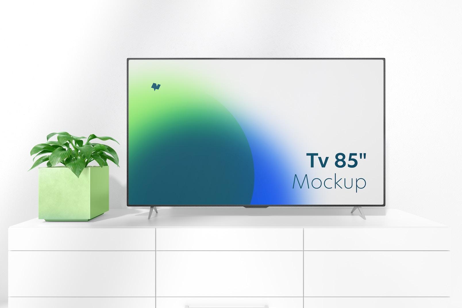 """Maqueta de TV de 85"""" sobre Mesa, Vista Frontal"""